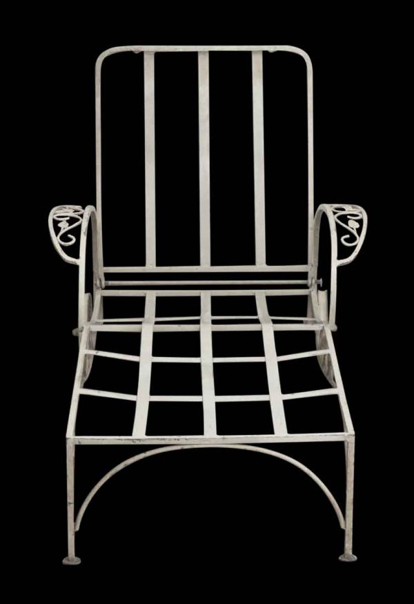 Patio Furniture - Reclaimed White Metal Patio Lounge Chair
