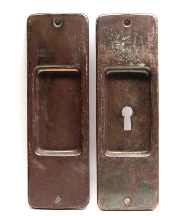 Pocket Door Hardware - Pair of Pocket Door Brass Back Plates