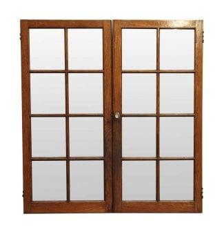 Reclaimed Pair Of Pine U0026 Glass Cabinet Doors