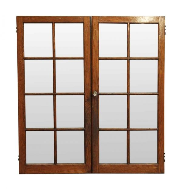 Reclaimed Windows - Reclaimed Pair of Pine & Glass Cabinet Doors