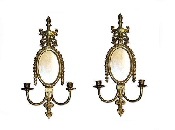 Sconces & Wall Lighting - Pair of Mirrored Brass Candle Sconces