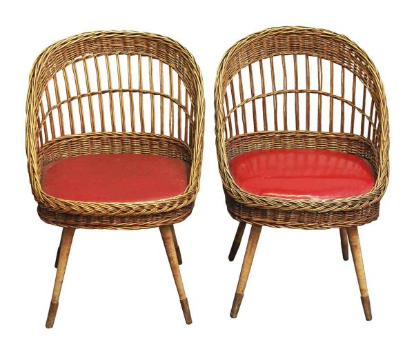 Seating - Pair of European Red Rattan Chairs