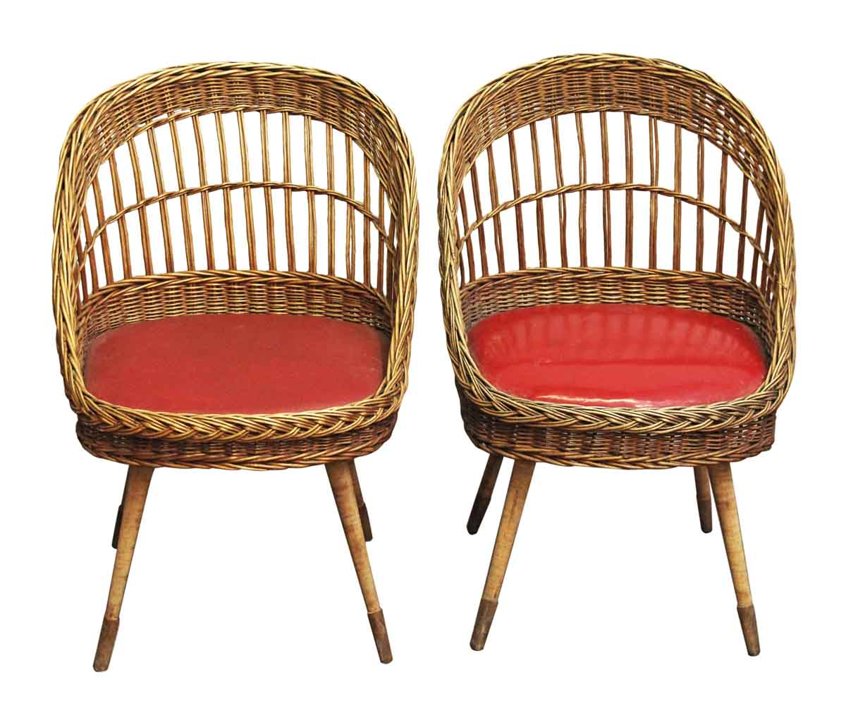 Pair of European Red Rattan Chairs | Olde Good Things