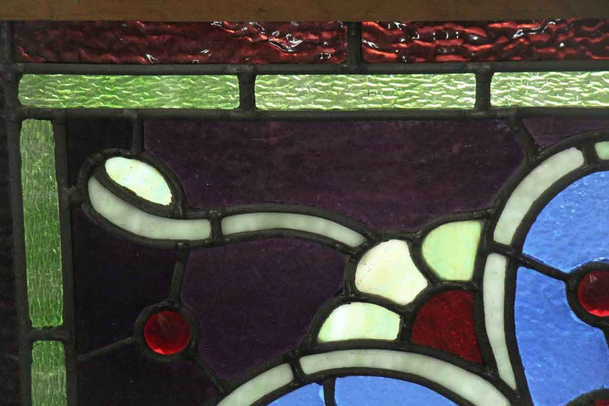 Salvaged Stained Glass Window With Shield Olde Good Things