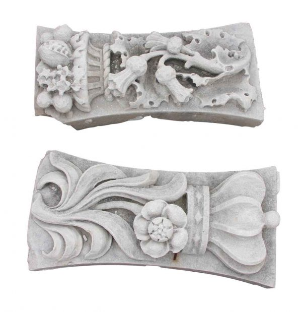 Stone & Terra Cotta - Pair of Carved Limestone Thistle & Crown Emblems