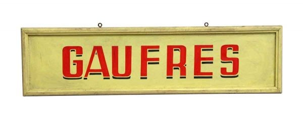 Vintage Signs - European Yellow Gaufres Waffles Wooden Sign