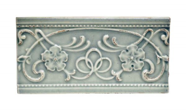 Wall Tiles - Antique Powder Blue Swirly & Floral Tile