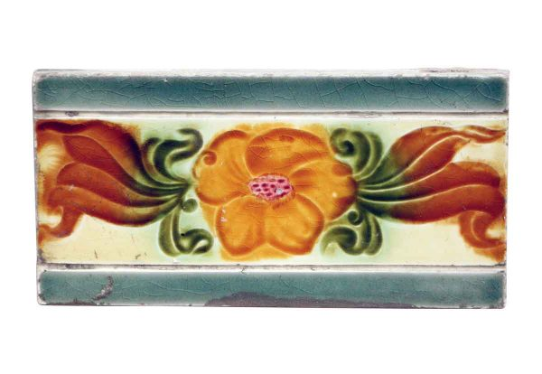 Wall Tiles - Vintage Green Tile with Orange Flower
