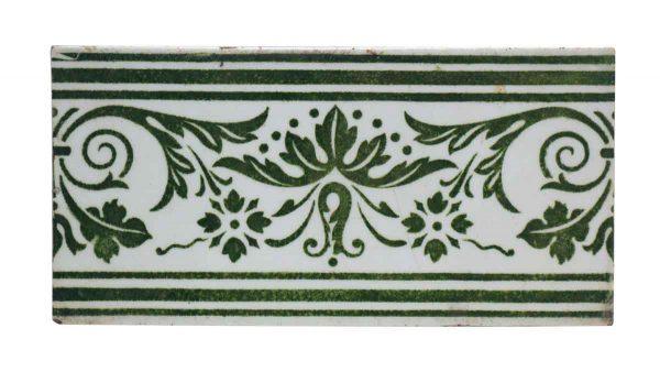 Wall Tiles - Vintage Green & White Tile Floral Subway Set