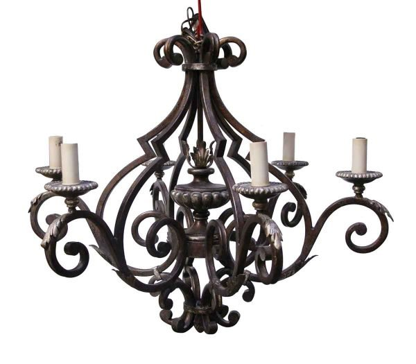 Chandeliers - Six Light Wrought Iron Chandelier from the Waldorf Astoria