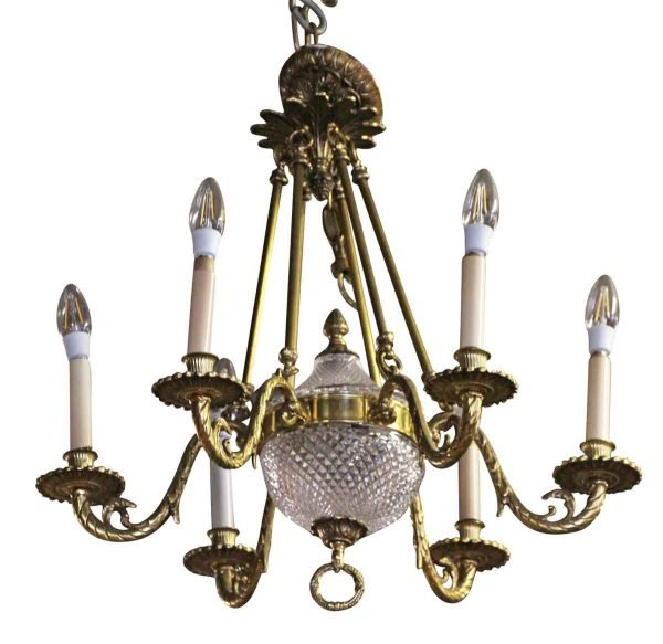 Chandeliers - Waldorf Astoria Elegant Six Arm Brass Chandelier