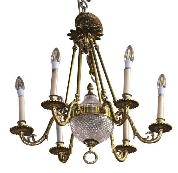 Chandeliers - Waldorf Astoria Elegant Six Arm Brass Chandelier
