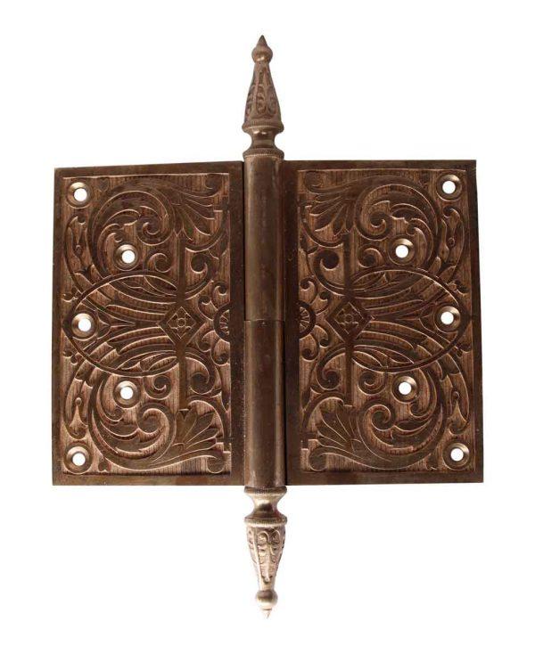 Door Hinges - Polished Bronze 6 x 8 Hinge with Steeple Tips