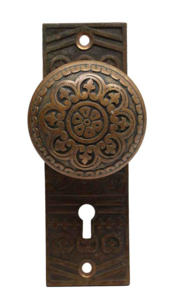 Door Knob Sets - Antique Bronze Niles Chicago 8 Fold Door Knob Set