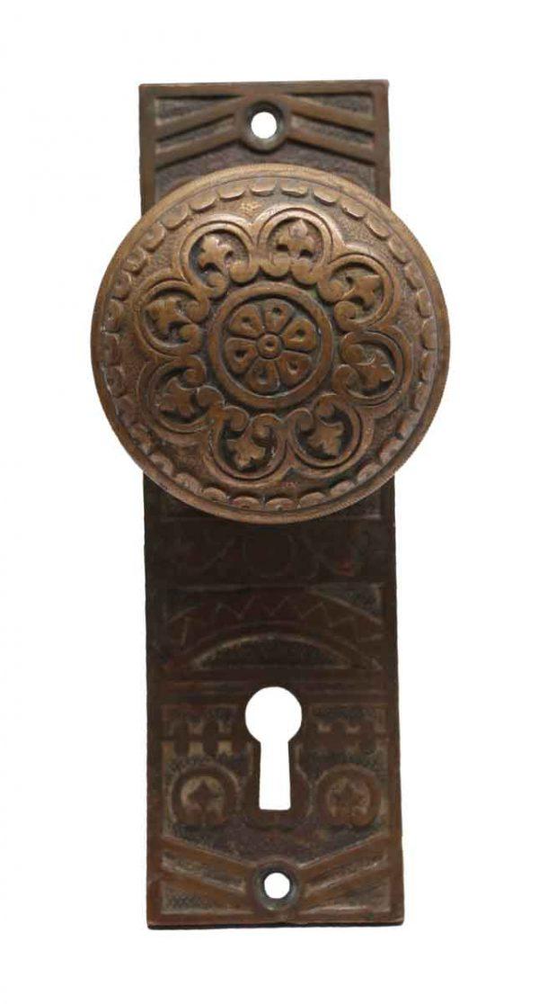 Door Knob Sets - Antique Niles Chicago Bronze 8 Fold Door Knob Set