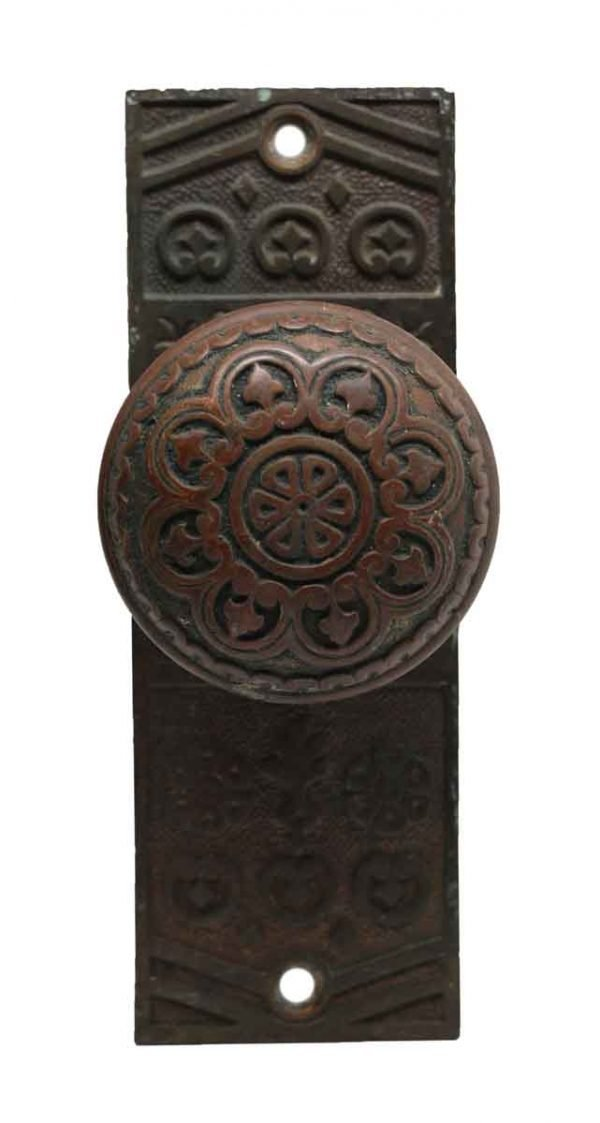 Door Knob Sets - Antique Niles Chicago Bronze Eight Fold Door Knob Set