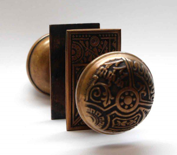 Door Knob Sets - Bronze Ceylon Corbin Door Knob Set with Large Rosettes