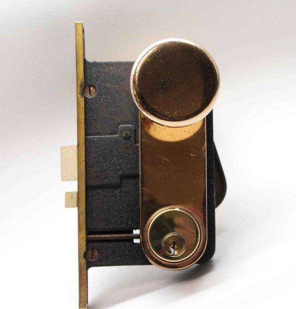 Door Knob Sets - Polished Brass Lockwood Door Knob Set with Matching Plates