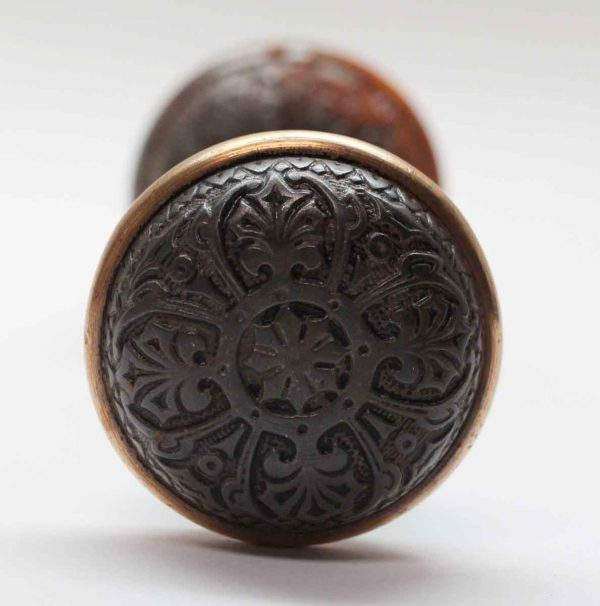Door Knobs - Pair of Cast Iron 4 Fold Door Knobs with a Bronze Rim