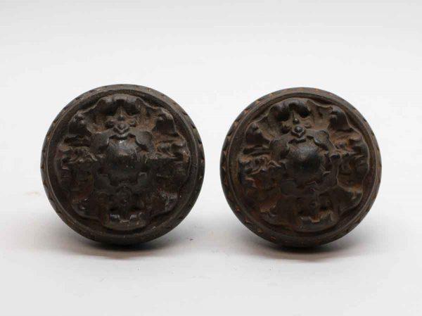 Door Knobs - Pair of Cast Iron Norwalk Flemish Door Knobs