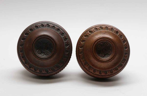 Door Knobs - Pair of Corbin Etruscan Concentric Bronze Door Knobs