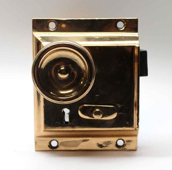 Door Knobs - Polished Brass Door Knob & Rim Lock Set