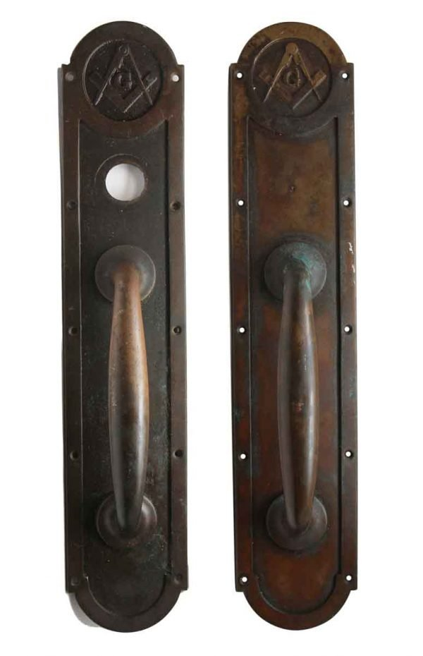 Door Pulls - Pair of Emblematic Corbin Bronze Door Handles