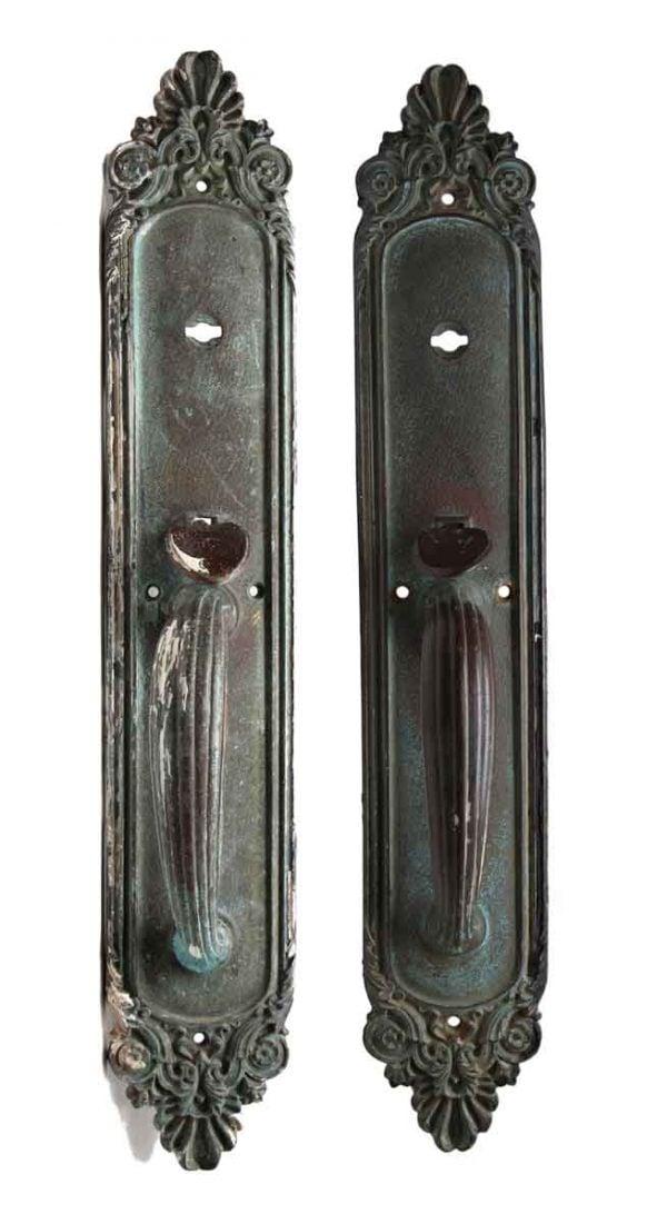 Door Pulls - Pair of Ornate Bronze Olympus Door Handles with Art Deco Detail