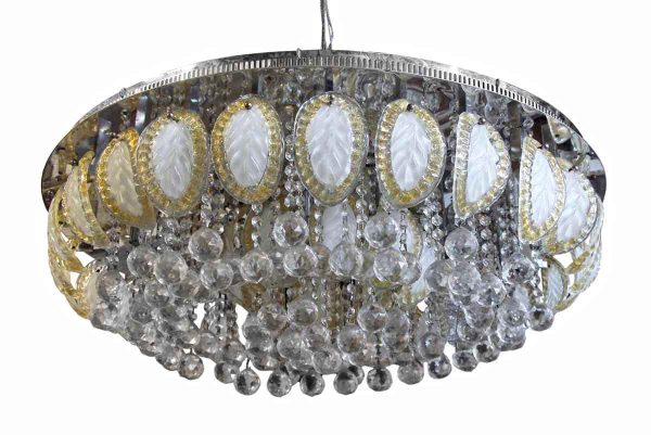 Flush & Semi Flush Mounts - Large Flush Mount Ballroom Chandelier with Glass Leaves & Faceted Crystals
