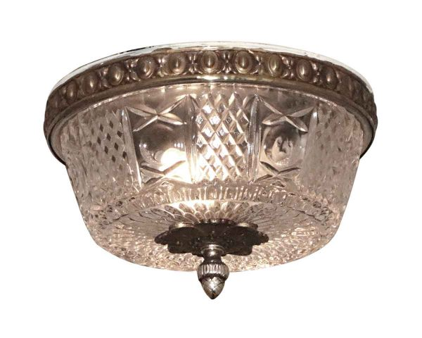 Flush & Semi Flush Mounts - Salvaged Waldorf Petite Flush Mount Cast Crystal Fixture