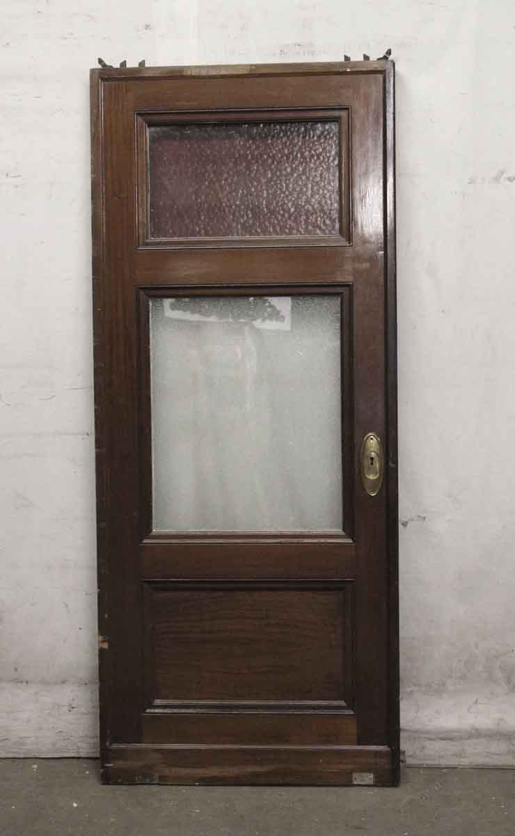 Wooden Pocket Door With Red Stained Glass Panel Olde