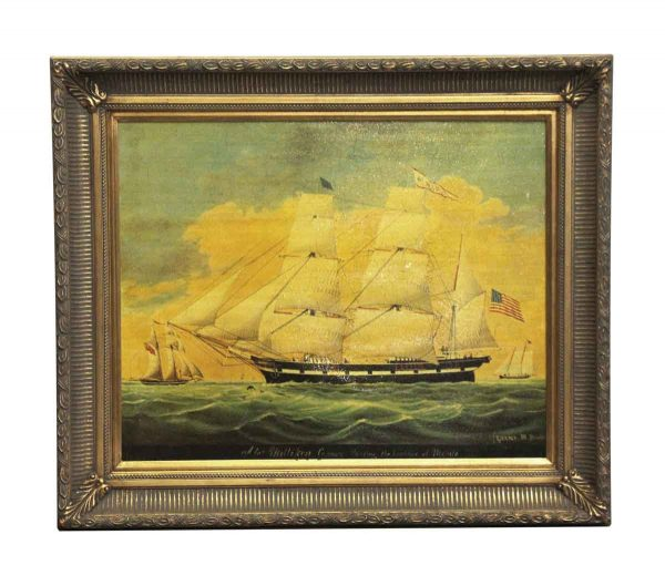 Paintings - Vintage Ornately Framed Boat Painting