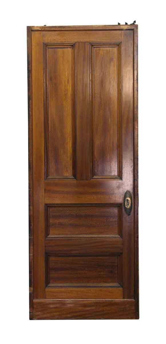 Pocket Doors - Wooden Vintage Dark Tone Pocket Door with Four Panels
