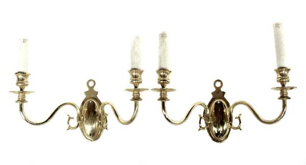 Sconces & Wall Lighting - Cast Brass Two Arm Colonial Sconces