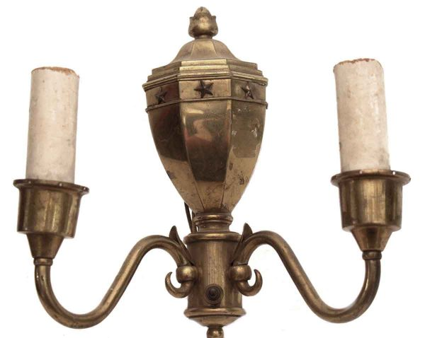 Sconces & Wall Lighting - Double Arm Brass Federal Sconce with Star Detail
