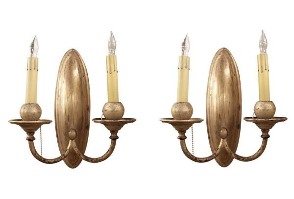 Sconces & Wall Lighting - Pair of Bradley & Hubbard Two Arm Silver Plated Sconces