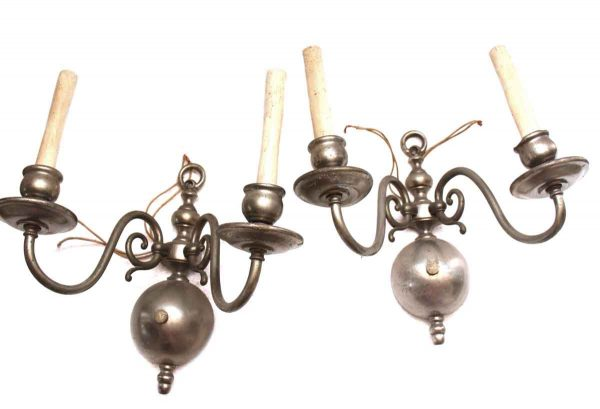 Sconces & Wall Lighting - Pair of Two Arm Silver Over Brass Colonial Sconces