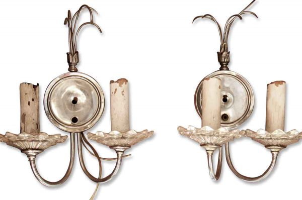 Sconces & Wall Lighting - Pair of Two Armed French Sliver Colored Sconces