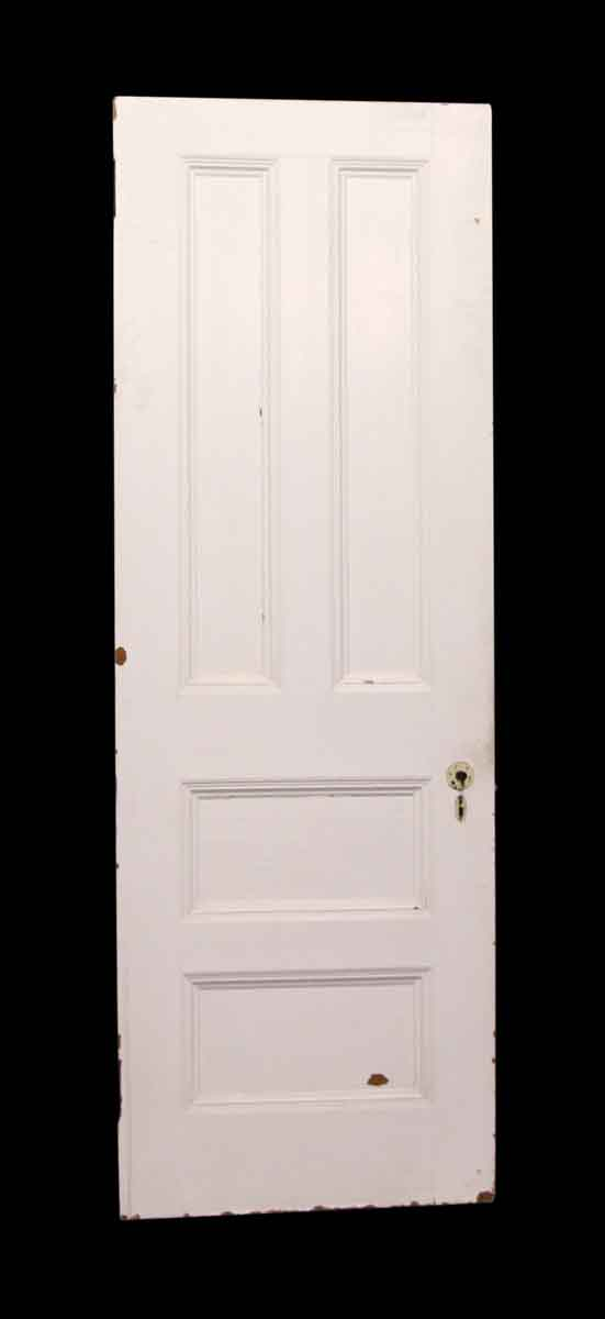 Standard Doors - White & Dark Wood Tone Four Panel Wooden Door