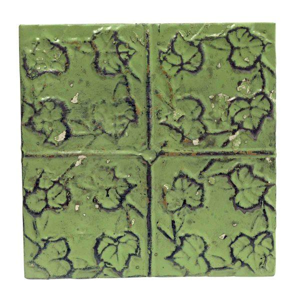 Tin Panels - Green 4 Leaf Antique Tin Panel