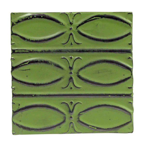 Tin Panels - Lime Green Fish Pattern Antique Tin Panel