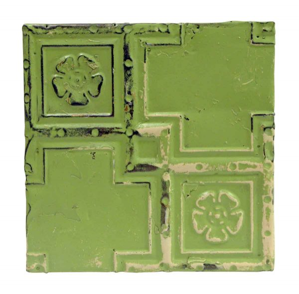 Tin Panels - Lime Green Floral Geometric Tin Panel