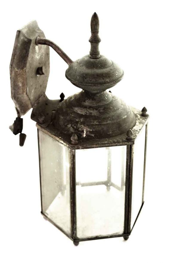 Wall & Ceiling Lanterns - Brass Lantern Light with Five Clear Glass Panels
