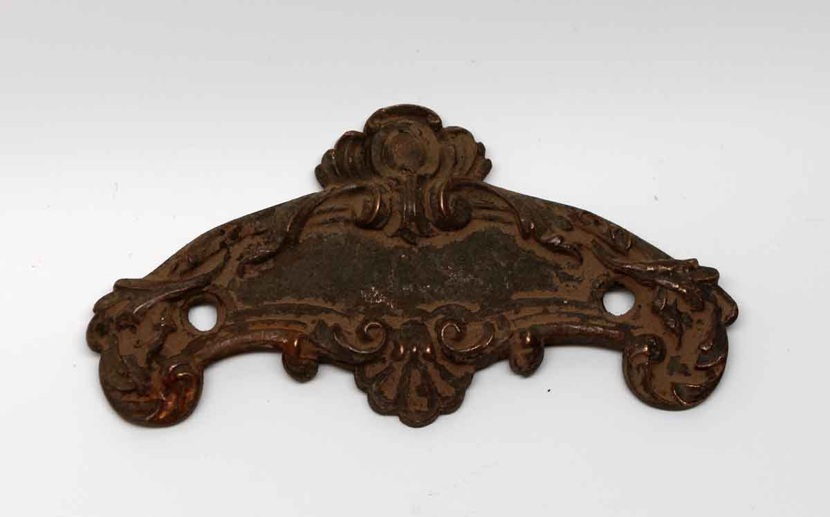 Ornate bronze door emblem plate from the plaza hotel olde good