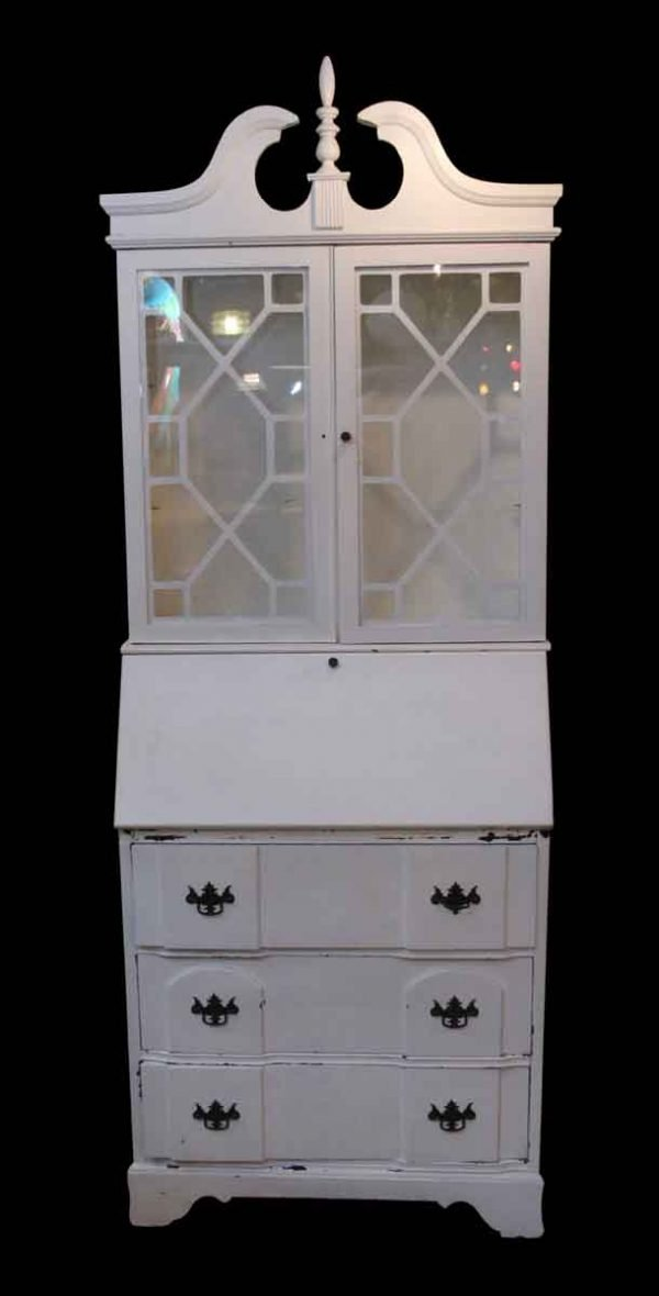 Cabinets - Vintage White Wooden Curio Cabinet
