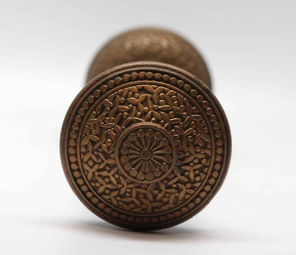 Door Knobs - Antique Yale & Towne Brass Rice Pattern Door Knob Set