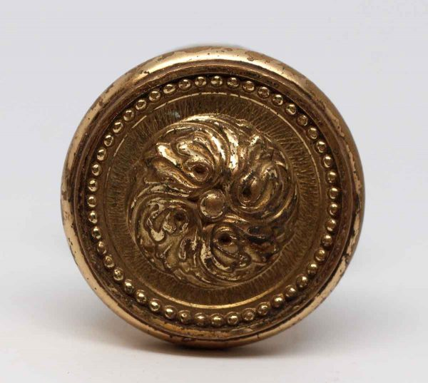 Door Knobs - Cast Brass Floral Door Knob Pull with Rosette
