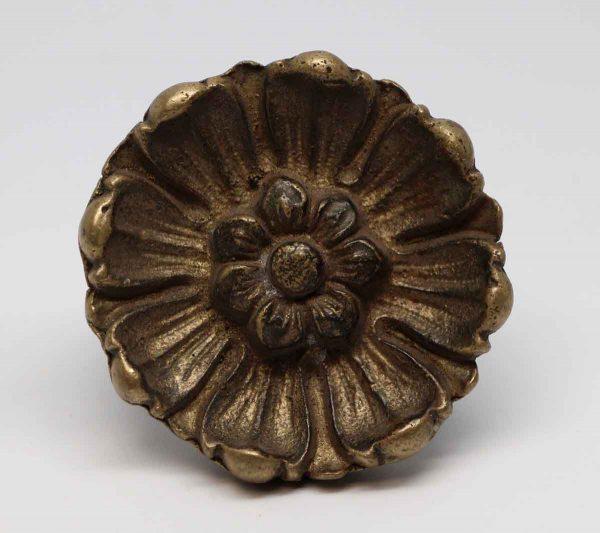 Door Knobs - Cast Brass Flower Entry Door Knob
