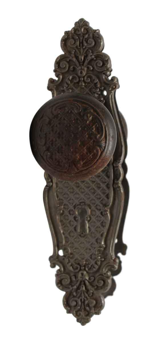 Door Knobs - Cast Iron Door Knob Set with Matching Back Plates