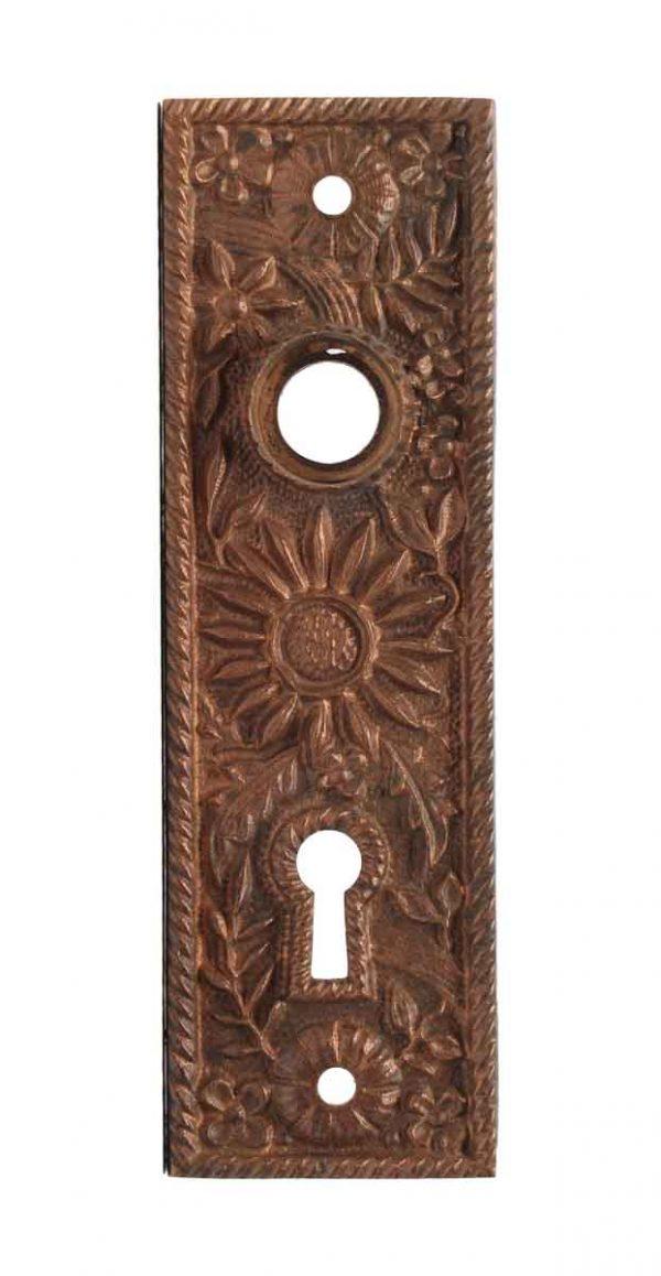 Door Knobs - Victorian Sunflower Bronze Keyhole Back Plates
